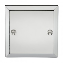 Knightsbridge Decorative Bevel Edge Polished Chrome 1 Gang Blank Plate