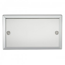 Knightsbridge Decorative Bevel Edge Polished Chrome 2 Gang Blank Plate