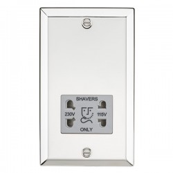 Knightsbridge Decorative Bevel Edge Polished Chrome Dual Voltage Shaver Socket - Grey Insert