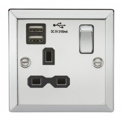 Knightsbridge Decorative Bevel Edge Polished Chrome 13A 1 Gang Switched Socket with Dual USB Charger - Black Insert