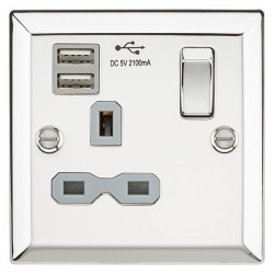 Knightsbridge Decorative Bevel Edge Polished Chrome 13A 1 Gang Switched Socket with Dual USB Charger - Grey Insert
