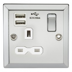 Knightsbridge Decorative Bevel Edge Polished Chrome 13A 1 Gang Switched Socket with Dual USB Charger - White Insert