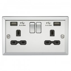 Knightsbridge Decorative Bevel Edge Polished Chrome 13A 2 Gang Switched Socket with Dual USB Charger - Black Insert