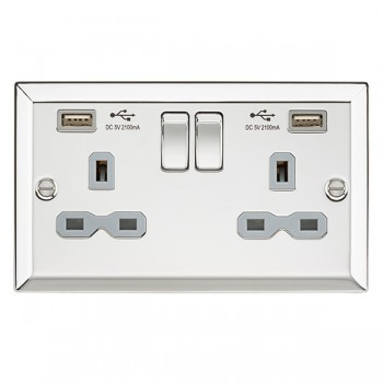 Knightsbridge Decorative Bevel Edge Polished Chrome 13A 2 Gang Switched Socket with Dual USB Charger - Grey Insert