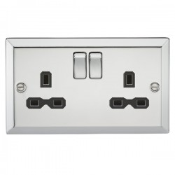 Knightsbridge Decorative Bevel Edge Polished Chrome 13A 2 Gang DP Switched Socket - Black Insert