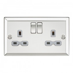Knightsbridge Decorative Bevel Edge Polished Chrome 13A 2 Gang DP Switched Socket - Grey Insert