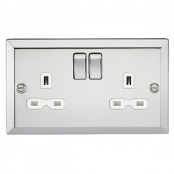 Knightsbridge Decorative Bevel Edge Polished Chrome 13A 2 Gang DP Switched Socket - White Insert