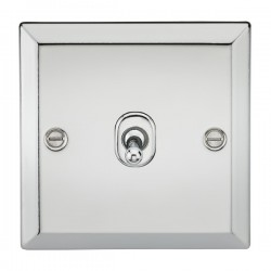 Knightsbridge Decorative Bevel Edge Polished Chrome 10A 1 Gang Intermediate Toggle Switch
