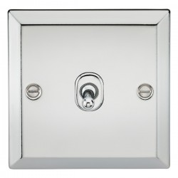 Knightsbridge Decorative Bevel Edge Polished Chrome 10A 1 Gang 2 Way Toggle Switch