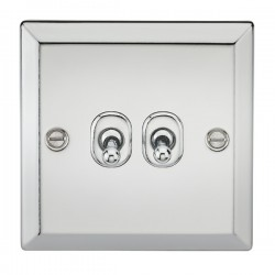 Knightsbridge Decorative Bevel Edge Polished Chrome 10A 2 Gang 2 Way Toggle Switch