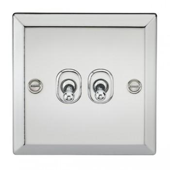 Knightsbridge Decorative Bevel Edge Polished Chrome 10A 2 Gang 2 Way Toggle Switch