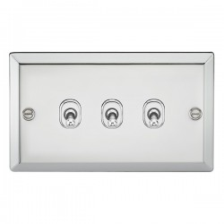 Knightsbridge Decorative Bevel Edge Polished Chrome 10A 3 Gang 2 Way Toggle Switch