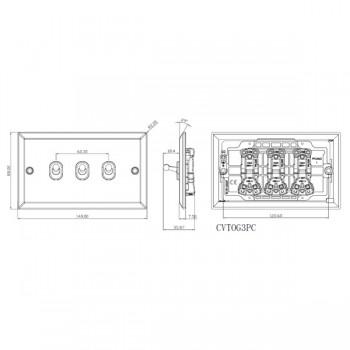 Knightsbridge Decorative Bevel Edge Polished Chrome 10A 3 Gang 2 Way Toggle Switch