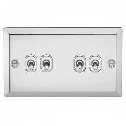 Knightsbridge Decorative Bevel Edge Polished Chrome 10A 4 Gang 2 Way Toggle Switch