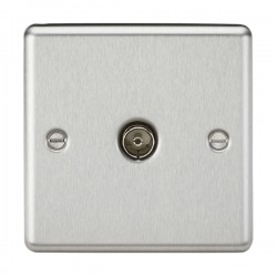 Knightsbridge Decorative Rounded Edge Brushed Chrome Non-Isolated TV Coaxial Outlet