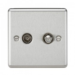 Knightsbridge Decorative Rounded Edge Brushed Chrome Isolated SAT/TV Outlet