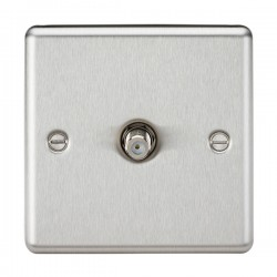Knightsbridge Decorative Rounded Edge Brushed Chrome Non-Isolated Satellite Outlet