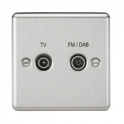 Knightsbridge Decorative Rounded Edge Brushed Chrome TV FM/DAB Screened Diplex Outlet