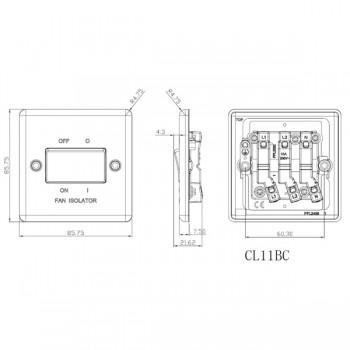 Knightsbridge Decorative Rounded Edge Brushed Chrome 10A 3 Pole Fan Isolator Switch
