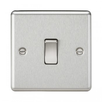 Knightsbridge Decorative Rounded Edge Brushed Chrome 10A 1 Gang Intermediate Switch
