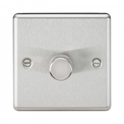 Knightsbridge Decorative Rounded Edge Brushed Chrome 1 Gang 2 Way 10-200W Dimmer