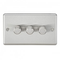 Knightsbridge Decorative Rounded Edge Brushed Chrome 3 Gang 2 Way 10-200W Dimmer