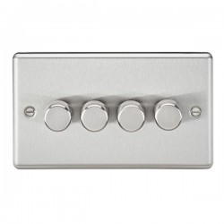 Knightsbridge Decorative Rounded Edge Brushed Chrome 4 Gang 2 Way 10-200W Dimmer