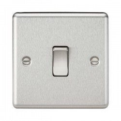 Knightsbridge Decorative Rounded Edge Brushed Chrome 10A 1 Gang 2 Way Switch