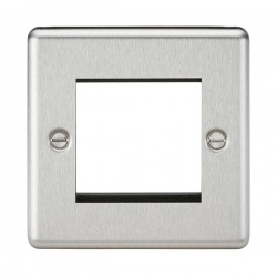 Knightsbridge Decorative Rounded Edge Brushed Chrome 2 Gang Modular Plate