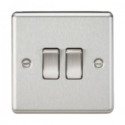 Knightsbridge Decorative Rounded Edge Brushed Chrome 10A 2 Gang 2 Way Switch