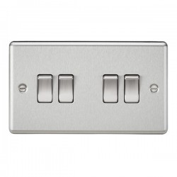 Knightsbridge Decorative Rounded Edge Brushed Chrome 10A 4 Gang 2 Way Switch
