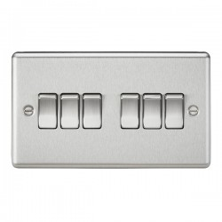 Knightsbridge Decorative Rounded Edge Brushed Chrome 10A 6 Gang 2 Way Switch