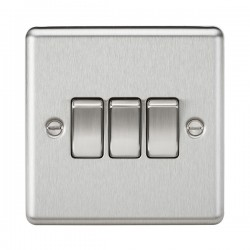 Knightsbridge Decorative Rounded Edge Brushed Chrome 10A 3 Gang 2 Way Switch