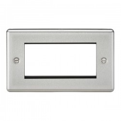 Knightsbridge Decorative Rounded Edge Brushed Chrome 4 Gang Modular Plate