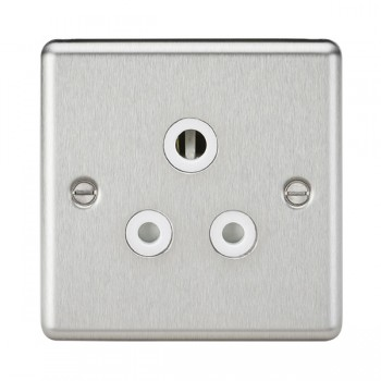 Knightsbridge Decorative Rounded Edge Brushed Chrome 5A Round Pin Socket - White Insert