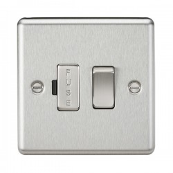 Knightsbridge Decorative Rounded Edge Brushed Chrome 13A Switched Fused Spur Unit