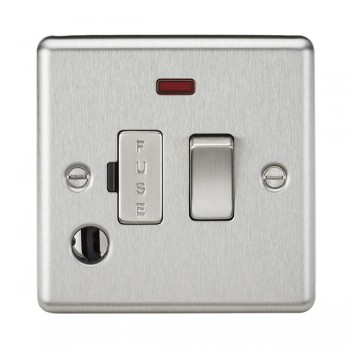 Knightsbridge Decorative Rounded Edge Brushed Chrome 13A Switched Fused Spur Unit with Neon and Flex Outlet