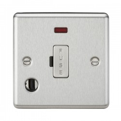 Knightsbridge Decorative Rounded Edge Brushed Chrome 13A Fused Spur Unit with Neon and Flex Outlet