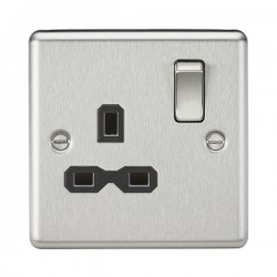 Knightsbridge Decorative Rounded Edge Brushed Chrome 13A 1 Gang DP Switched Socket - Black Insert