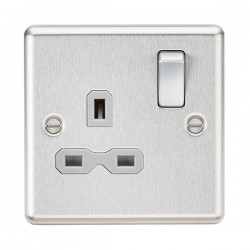 Knightsbridge Decorative Rounded Edge Brushed Chrome 13A 1 Gang DP Switched Socket - Grey Insert
