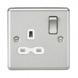 Knightsbridge Decorative Rounded Edge Brushed Chrome 13A 1 Gang DP Switched Socket - White Insert