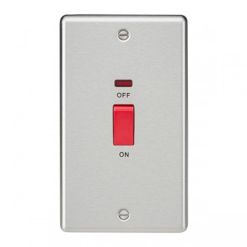 Knightsbridge Decorative Rounded Edge Brushed Chrome 45A DP Switch with Neon (Double Plate)