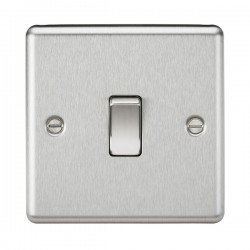 Knightsbridge Decorative Rounded Edge Brushed Chrome 20A DP Switch