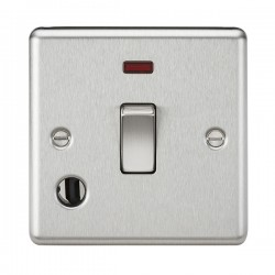 Knightsbridge Decorative Rounded Edge Brushed Chrome 20A DP Switch with Neon and Flex Outlet
