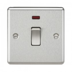 Knightsbridge Decorative Rounded Edge Brushed Chrome 20A DP Switch with Neon