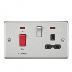 Knightsbridge Decorative Rounded Edge Brushed Chrome 45A DP Switch and 13A Switched Socket with Neon - Black Insert