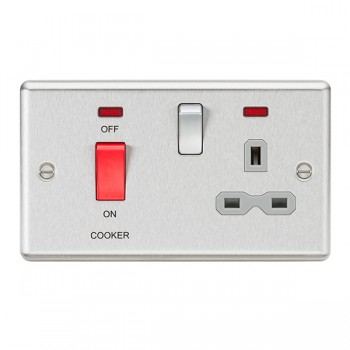 Knightsbridge Decorative Rounded Edge Brushed Chrome 45A DP Switch and 13A Switched Socket with Neon - Grey Insert