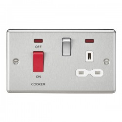 Knightsbridge Decorative Rounded Edge Brushed Chrome 45A DP Switch and 13A Switched Socket with Neon - White Insert