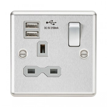 Knightsbridge Decorative Rounded Edge Brushed Chrome 13A 1 Gang Switched Socket with Dual USB Charger - Grey Insert