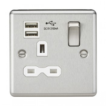 Knightsbridge Decorative Rounded Edge Brushed Chrome 13A 1 Gang Switched Socket with Dual USB Charger - White Insert